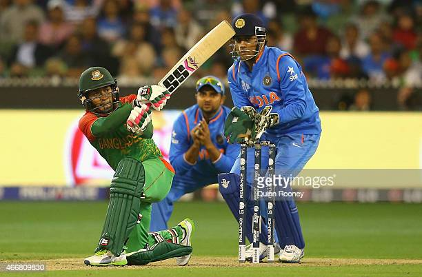 Mushfiqur Rahim of Bangladesh bats during the 2015 ICC Cricket World Cup Quater Final match between India and Bangldesh at Melbourne Cricket Ground...