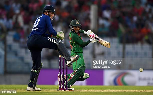Mushfiqur Rahim of Bangladesh bats during the 3rd One Day International match between Bangladesh and England at Zohur Ahmed Chowdhury Stadium on...