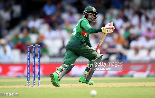 Mushfiqur Rahim of Bangladesh bats during the Group Stage match of the ICC Cricket World Cup 2019 between South Africa and Bangladesh at The Oval on...
