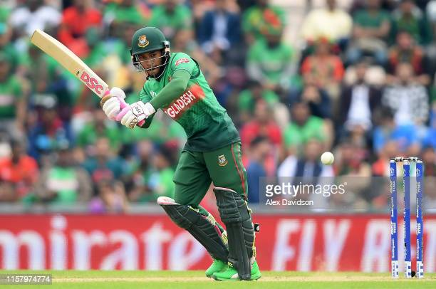 Mushfiqur Rahim of Bangladesh bats during the Group Stage match of the ICC Cricket World Cup 2019 between Bangladesh and South Africa at The...