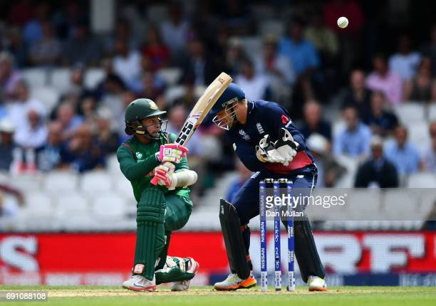 Mushfiqur Rahim of Bangladesh bats during the ICC Champions Trophy Group A match between England and Bangladesh at The Kia Oval on June 1 2017 in...