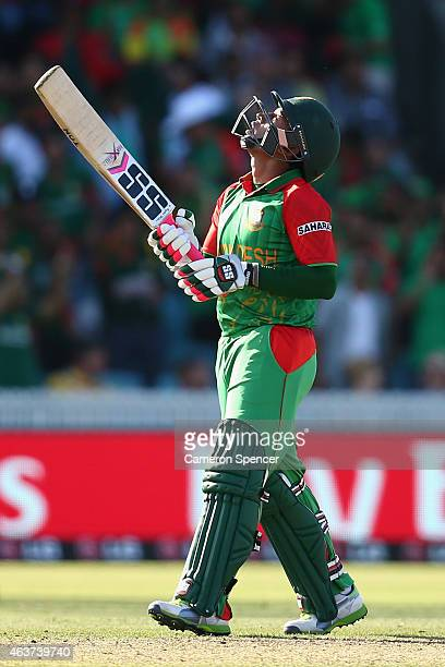 Mushfiqur Rahim of Bangladesh celebrates after reaching his half century during the 2015 ICC Cricket World Cup match between Bangladesh and...