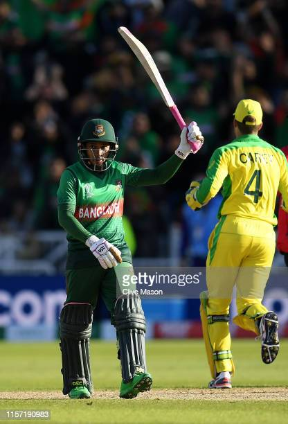 Mushfiqur Rahim of Bangladesh celebrates his centuryduring the Group Stage match of the ICC Cricket World Cup 2019 between Australia and Bangladesh...