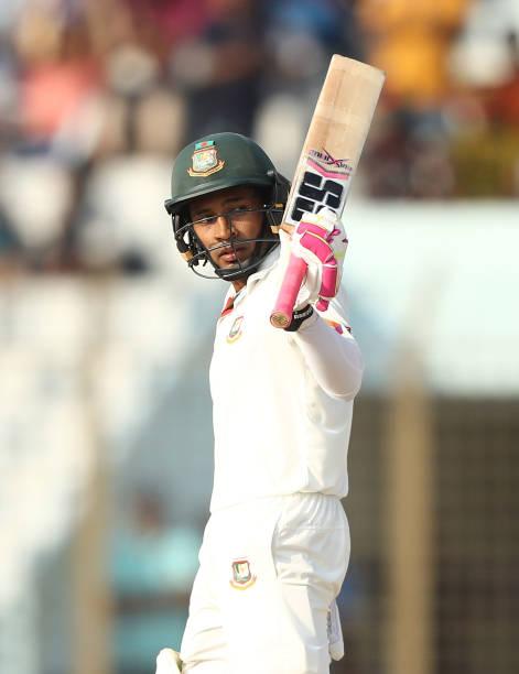 Mushfiqur Rahim of Bangladesh celebrates making his half century during day one of the Second Test match between Bangladesh and Australia at Zahur...