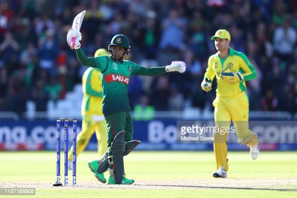 Mushfiqur Rahim of Bangladesh celebrates reaching his century during the Group Stage match of the ICC Cricket World Cup 2019 between Australia and...