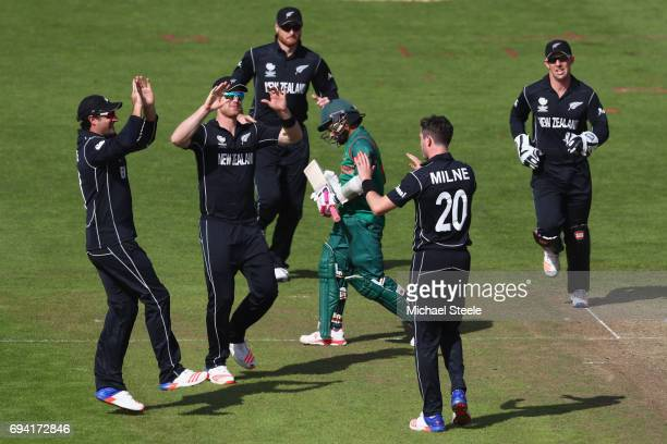 Mushfiqur Rahim of Bangladesh heads back to the pavillion after being bowled by Adam Milne of New Zealand during the ICC Champions Trophy match...