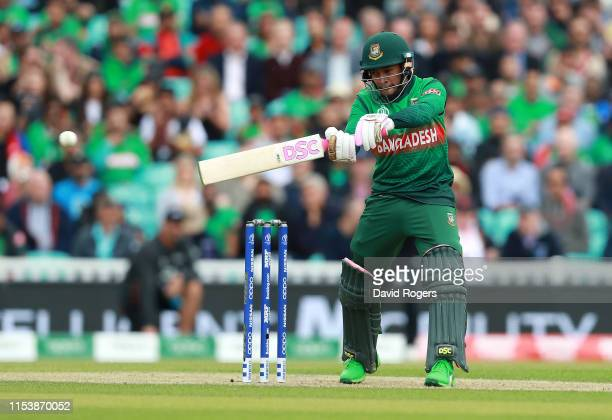 Mushfiqur Rahim of Bangladesh hits the ball to the boundary during the Group Stage match of the ICC Cricket World Cup 2019 between Bangladesh and New...