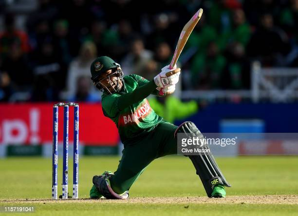 Mushfiqur Rahim of Bangladesh in action batting during the Group Stage match of the ICC Cricket World Cup 2019 between Australia and Bangladesh at...