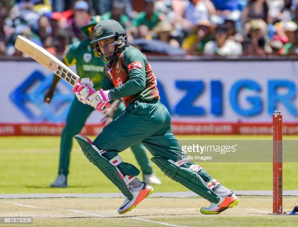 Mushfiqur Rahim of Bangladesh in action during the 1st Momentum ODI match between South Africa and Bangladesh at Diamond Oval on October 15 2017 in...