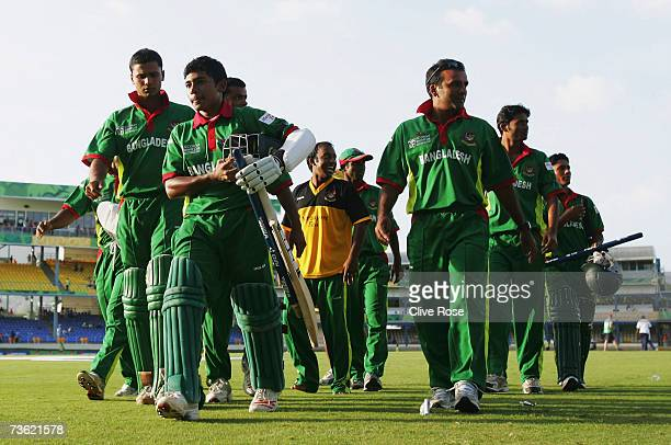 Mushfiqur Rahim of Bangladesh leads the team from the field at the end of the ICC Cricket World Cup 2007 Group B match between Bangladesh and India...