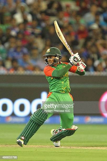 Mushfiqur Rahim of Bangladesh plays a shot during the 2015 ICC Cricket World Cup match between India and Bangladesh at Melbourne Cricket Ground on...