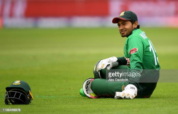Mushfiqur Rahim of Bangladesh reacts after missing the ball during the Group Stage match of the ICC Cricket World Cup 2019 between West Indies and...