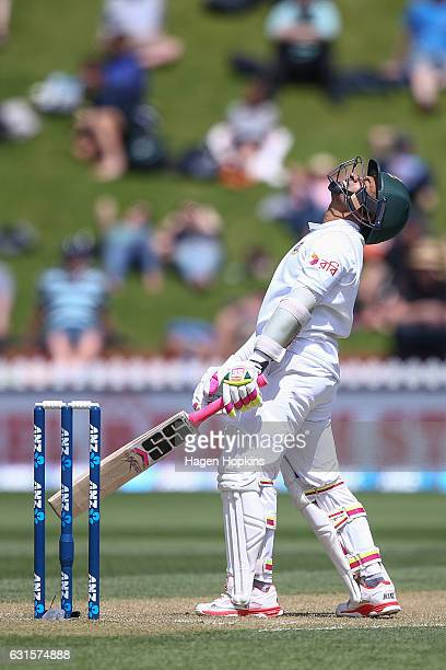 Mushfiqur Rahim of Bangladesh shows his frustration during day two of the First Test match between New Zealand and Bangladesh at Basin Reserve on...