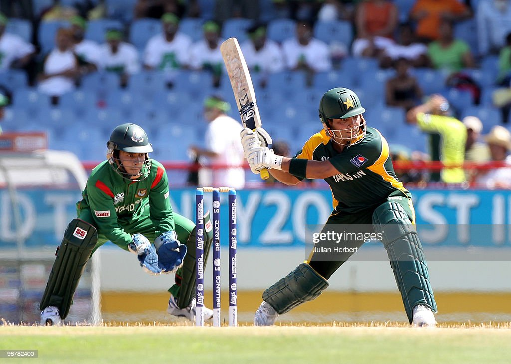 Mushfiqur Rahim watches as Kamran Akmal of Pakistan scores runs during The ICC World Twenty20 Group A match between Pakistan and Bangladesh played at The Beausejour Cricket Ground on May 1, 2010 in Gros Islet, Saint Lucia.