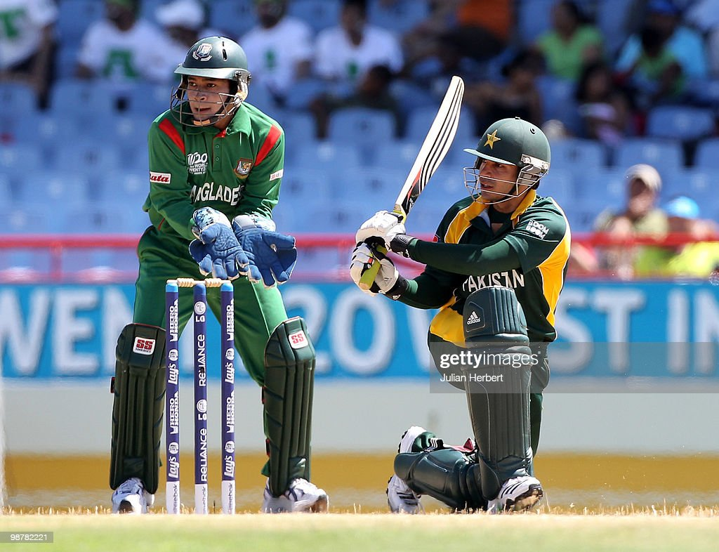 Mushfiqur Rahim watches as Salman Butt of Pakistan scores runs during The ICC World Twenty20 Group A match between Pakistan and Bangladesh played at The Beausejour Cricket Ground on May 1, 2010 in Gros Islet, Saint Lucia.