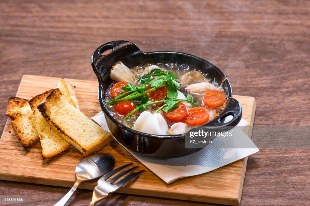 Mushroom and Squid Ajillo : Stock Photo