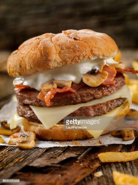 Mushroom, Bacon, Swiss Burger with Blue Cheese Dressing