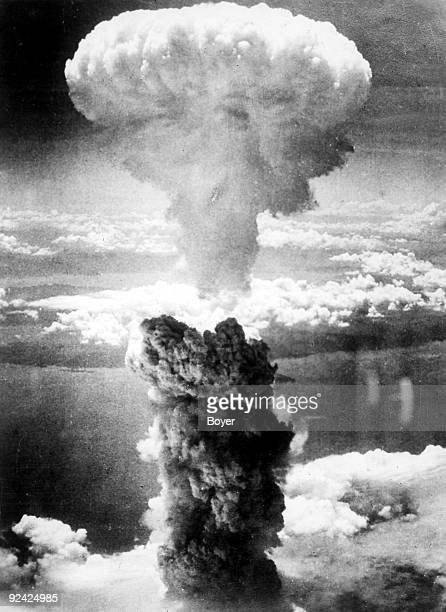 Mushroom cloud of the Nagasaki bomb at about 18000 metres on August 9 1945