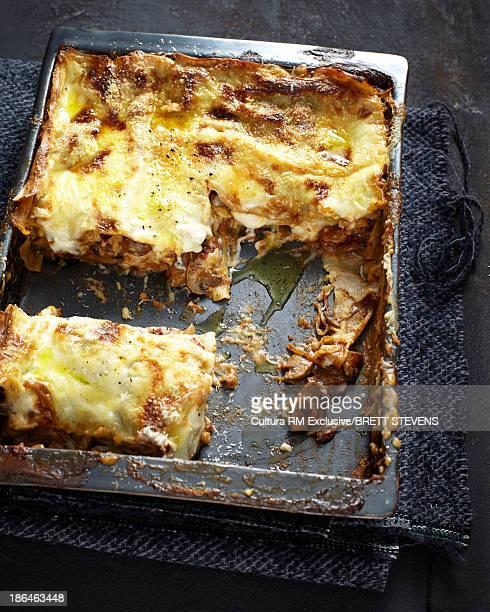 Mushroom lasagne in baking dish