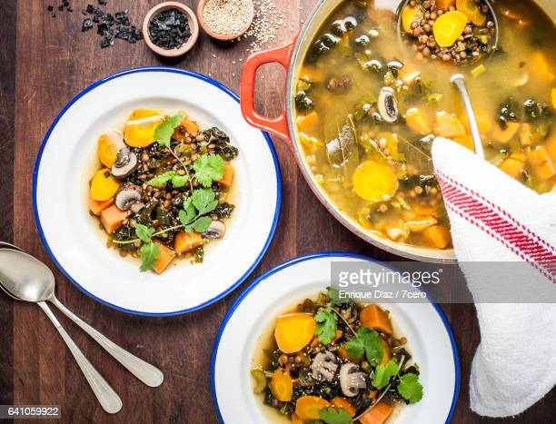 mushroom miso guiso - lentil stock pictures, royalty-free photos & images