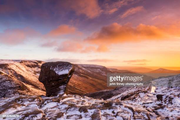 Mushroom rock at the top of Grindsbrook clough, near Edale in the English Peak District. UK.