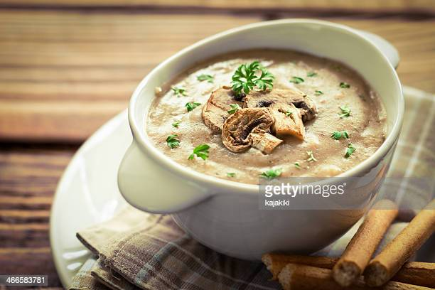 mushroom soup - mushrooms stock photos and pictures