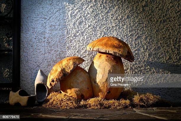 Mushrooms carved in wood.