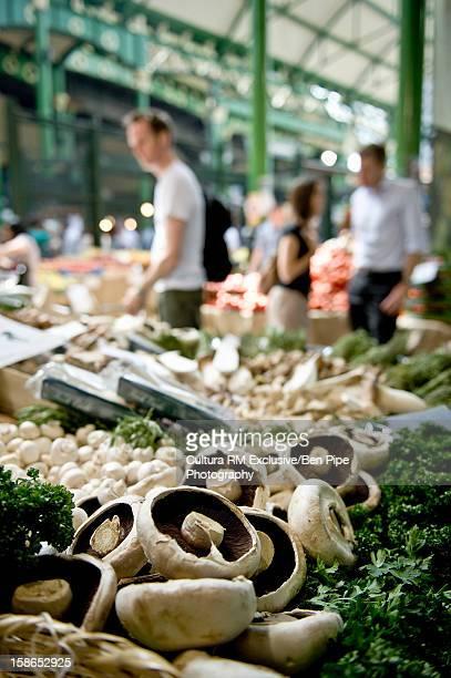 Mushrooms for sale in outdoor market
