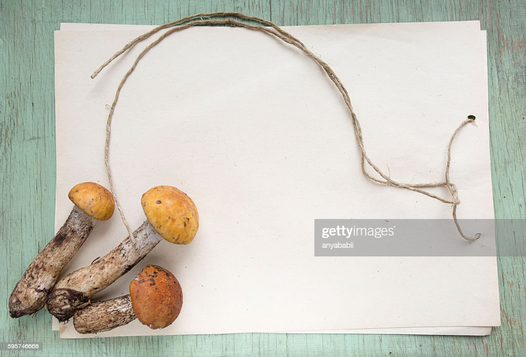 Mushrooms With Blank Homemade Notepad And Rough Rope On Old Stock Photo