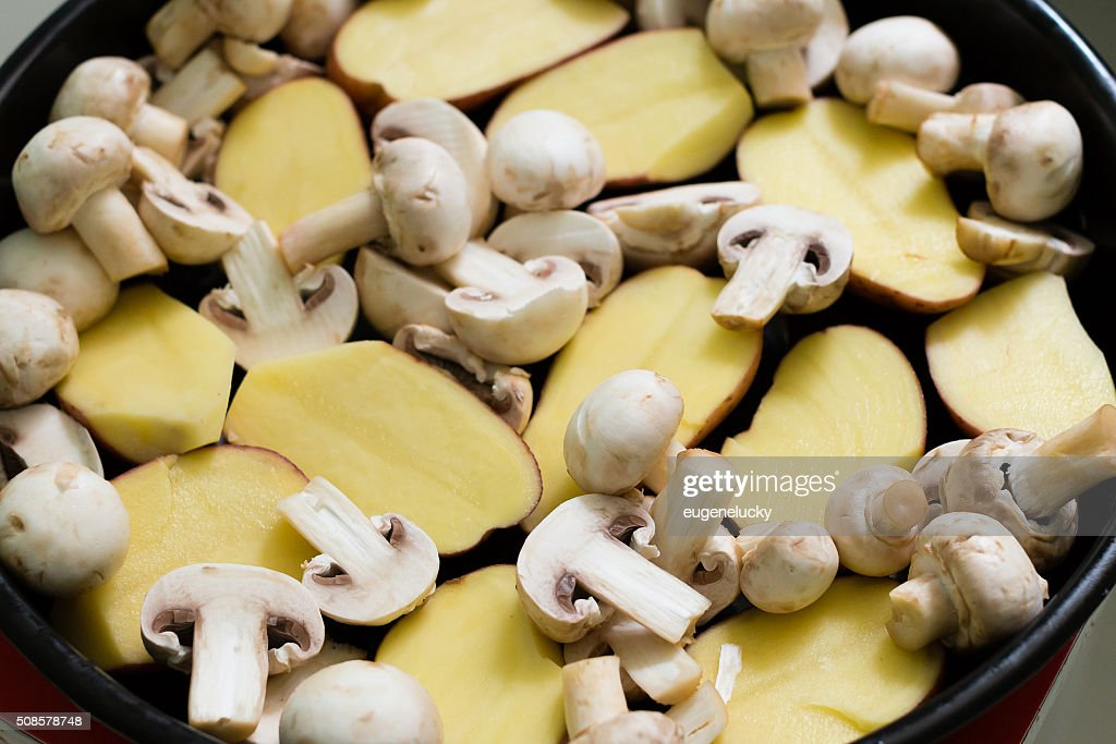 Mushrooms with Potatoes ready for grill : Stock Photo