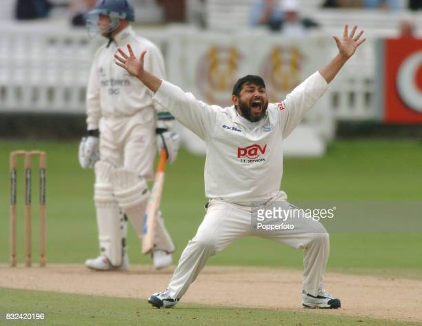 Mushtaq Ahmed of Sussex traps David Nash of Middlesex LBW during the Frizzell County Championship Division One match between Middlesex and Sussex at...
