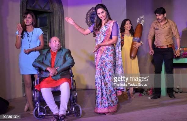 Mushtaq Khan Krystle D'Souza and Dheeraj Sarna during the launch of Belan Vali Bahu on Colors in Mumbai