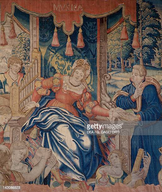 Music Allegorized 16th century Flemish tapestry manufacture of Audenarde Castle of Loches Francia