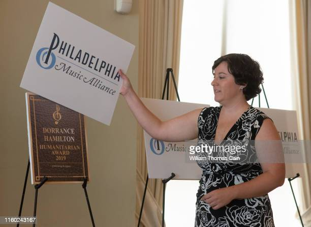 Music Alliance staff member unveils Dorrance Hamilton as a nominee for induction during the announcement of the 2019 Philadelphia Music Alliance Walk...