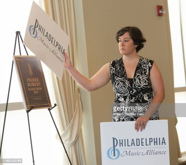 Music Alliance staff member unveils Pierre Robert as a nominee for induction during the announcement of the 2019 Philadelphia Music Alliance Walk of...