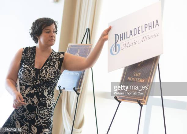 Music Alliance staff member unveils The Hooters as a nominee for induction during the announcement of the 2019 Philadelphia Music Alliance Walk of...