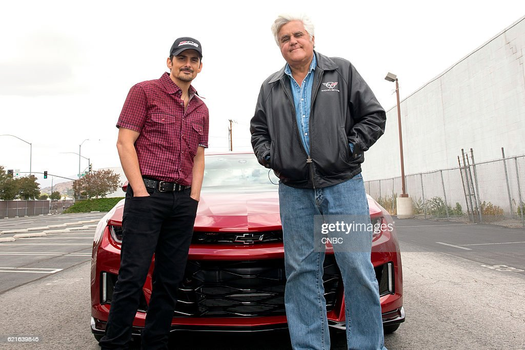 S GARAGE -- 'Music and Cars' Episode 209 -- Pictured: (l-r) Brad Paisley, Jay Leno --