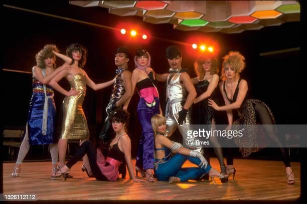 Music and dance group Hot Gossip, including singer Sarah Brightman , circa 1978.