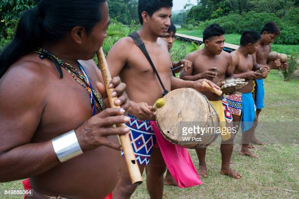 Music and dancing in the village of the Native Indian Embera Tribe Embera Village Panama Panama Embera people Indian Village Indigenous Indio indios...