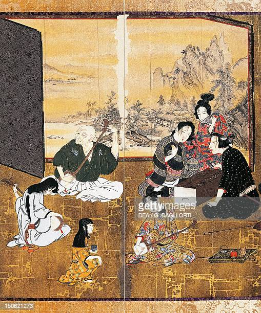 Music and games detail from the screen by Hikone with genre scenes colour on gold paper Japan Japanese Civilisation Edo period the first part of 17th...