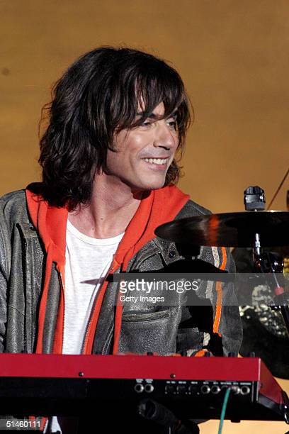 Music and light artist Jean Michel Jarre performs during his concert in Tiananmen Square for the official launch of the Year of France festival...