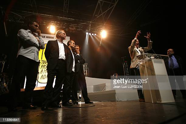 Music And Meeting Of 'Touche Pas A Mon Adn' At Zenith In Paris, France On October 14, 2007 Dominique Sopo, Philippe Val, Bernard-Henri Levy, Laurent...