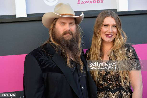 Music artist Chris Stapleton and Morgane Stapleton attend the 52nd Academy Of Country Music Awards at TMobile Arena on April 2 2017 in Las Vegas...
