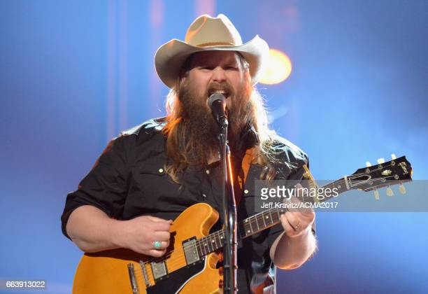 Music artist Chris Stapleton onstage at the 52nd Academy Of Country Music Awards at TMobile Arena on April 2 2017 in Las Vegas Nevada