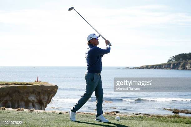 Music artist Clay Walker plays his shot from the 18th tee during the 3M Celebrity Challenge prior to the ATT Pebble Beach ProAm at Pebble Beach Golf...