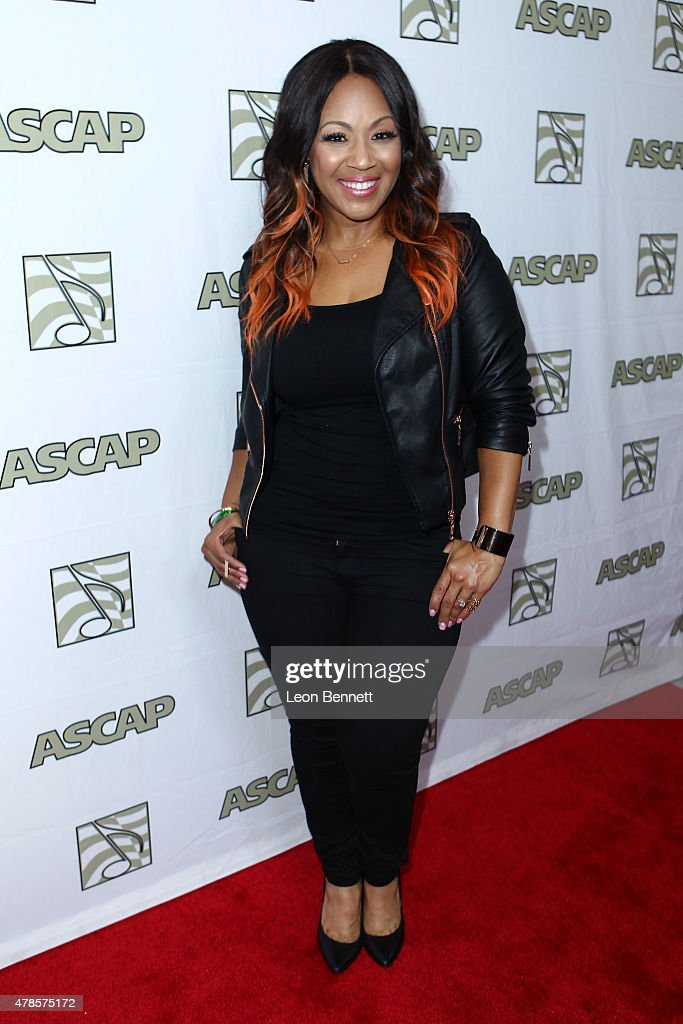 Music artist Erica Campbell of Mary Mary arrived at the 28th Annual ASCAP Rhythm And Soul Music Awards - Arrivals at the Beverly Wilshire Four Seasons Hotel on June 25, 2015 in Beverly Hills, California.