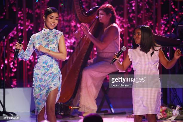 Music artist Jhene Aiko and her daughter Namiko Aiko performs onstage during VH1's 3rd Annual Dear Mama A Love Letter To Moms Inside Show at The...