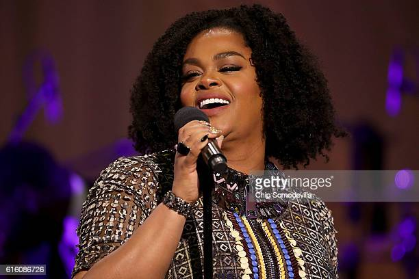 Music artist Jill Scott performs during the BET's 'Love and Happiness A Musical Experience in a tent on the South Lawn of the White House October 21...