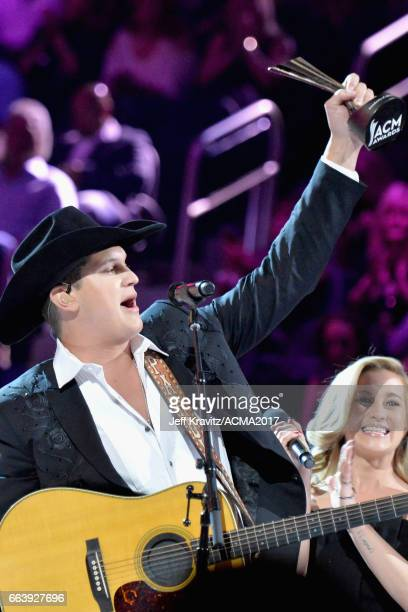 Music artist Jon Pardi accepts the award for New Male Vocalist of the Year presented by TMobile onstage at the 52nd Academy Of Country Music Awards...