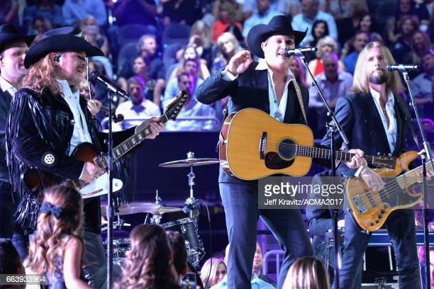 Music artist Jon Pardi onstage at the 52nd Academy Of Country Music Awards at TMobile Arena on April 2 2017 in Las Vegas Nevada